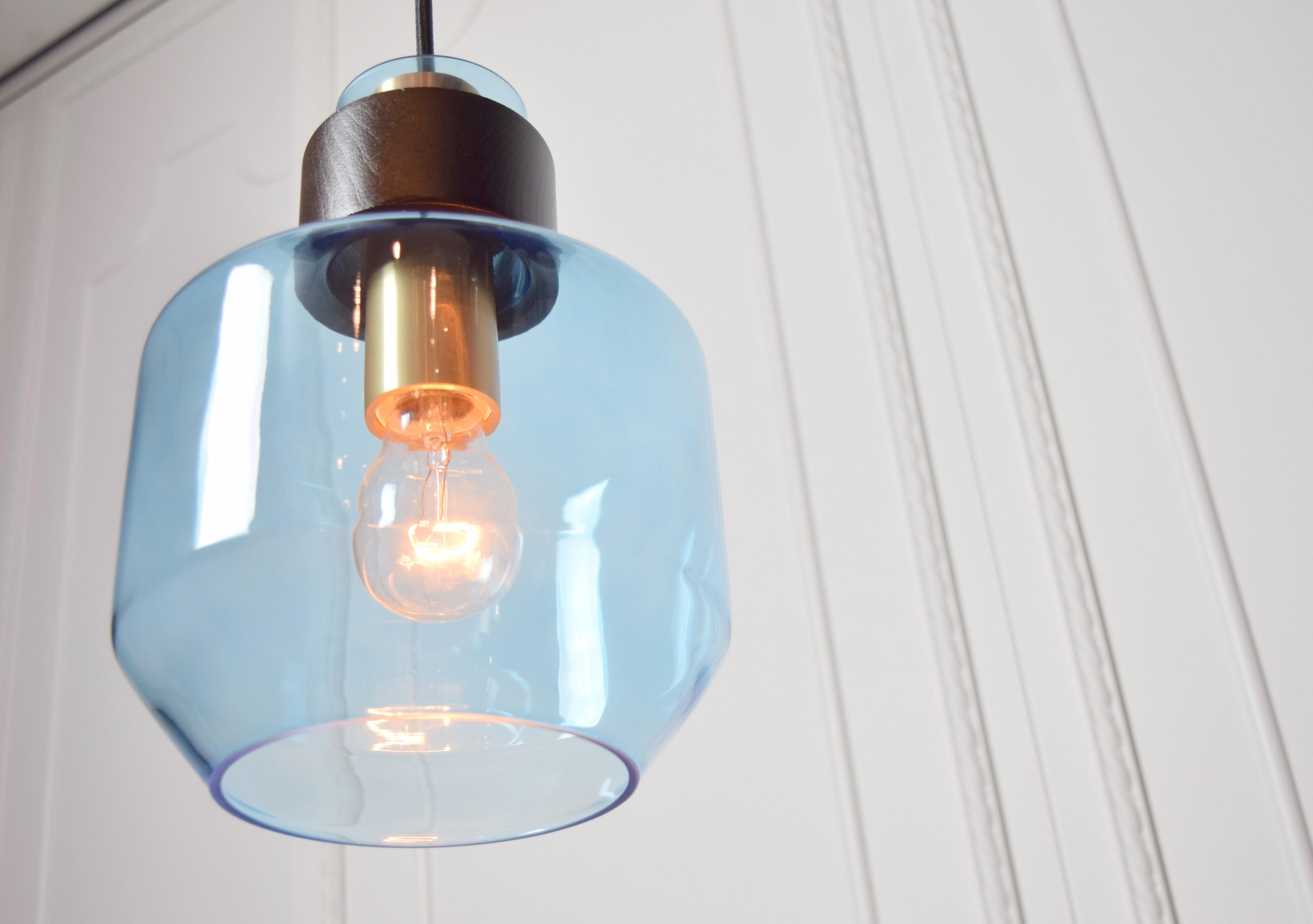 水藍色寬酒瓶造型吊燈-BNL00122