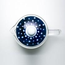 日本藍丸紋透明玻璃茶壺-藍底白點蓋(indigo japan)